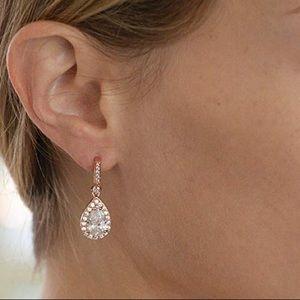 CLEARANCE: Rose Gold CZ Teardrop Earrings